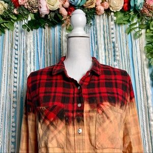 Charlotte Russe Distressed Bleached Flannel XL